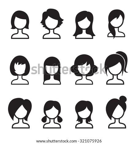 Woman hair style icon Set - stock vector