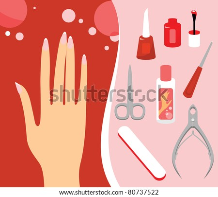 Woman hand and Personal nail styling set - stock vector