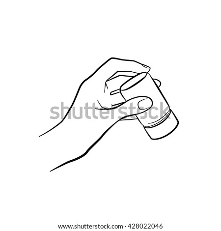 Woman hand holding salt. Kitchen tools. Outline cooking gesture. Cooking hand isolated on white background.