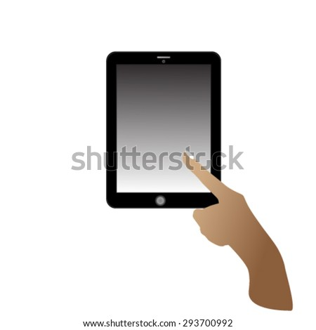 Woman Hand touching tablet - stock vector