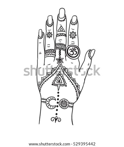 Woman Hand With Magic Mehendi And Boho Jewelry Vector Illustration Isolated Tattoo Design