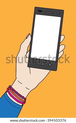 Woman hand with smartphone. Nice vector illustration.