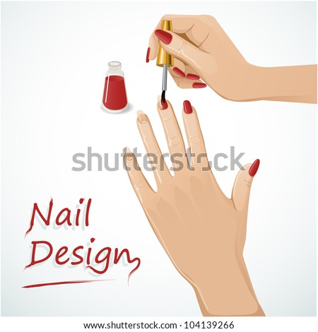Woman hands putting a varnish on nails. Vector image of a woman hands applying a varnish on nails - stock vector