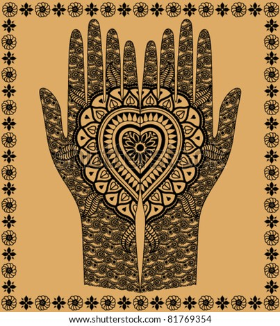 woman hands with the Indian decorative pattern on a beige background - stock vector