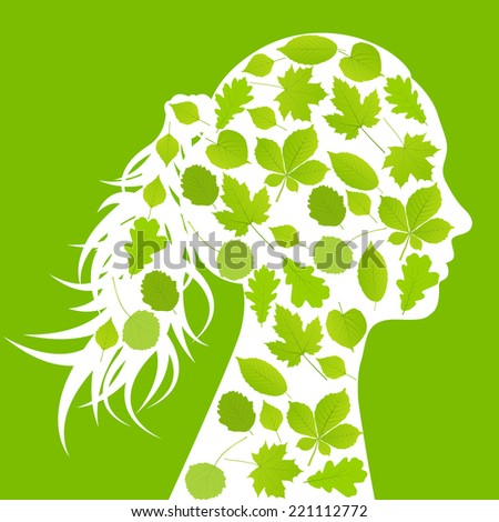 Woman head made with leaves ecology vector background concept - stock vector