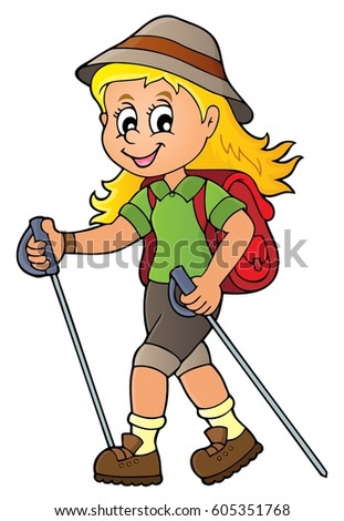 woman hiker theme image 1 eps 10 stock vector 2018 605351768 rh shutterstock com cartoon hiking images cartoon hiking images