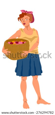 Woman holding basket with apples - multicolored  - stock vector