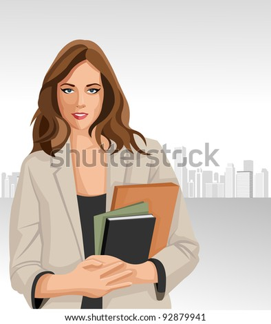 Woman holding files with city on the background - stock vector