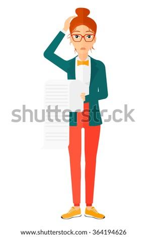 Woman holding long bill. - stock vector