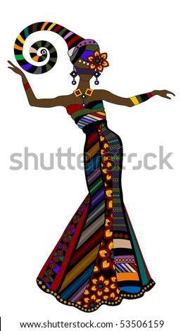 woman in a beautiful dress in ethnic style with a white background - stock vector