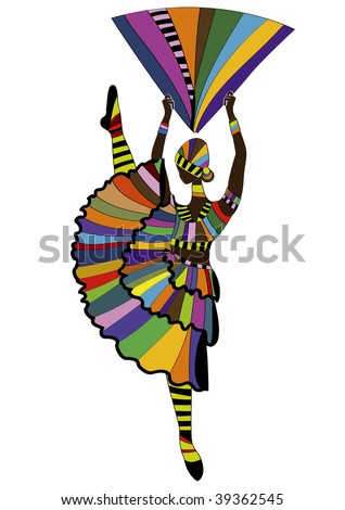 woman in a bright suit, performed a celebratory dance - stock vector