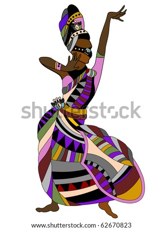 woman in a dress dances religious dance in the ethnic style - stock vector