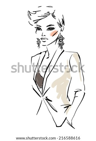 Woman in a jacket - stock vector