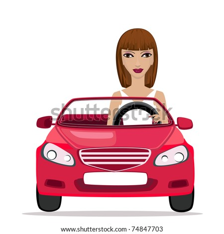 Woman in a red convertible - stock vector