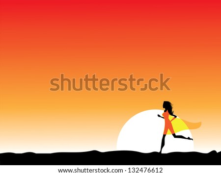 Woman in a sheer dress running at sunrise or sunset. EPS 8 vector, grouped for easy editing. No open shapes or paths. - stock vector