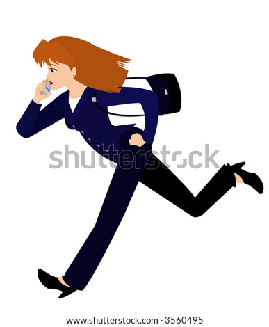Woman in Business Suit, Running - stock vector