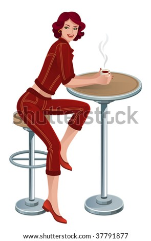 woman in cafe - stock vector