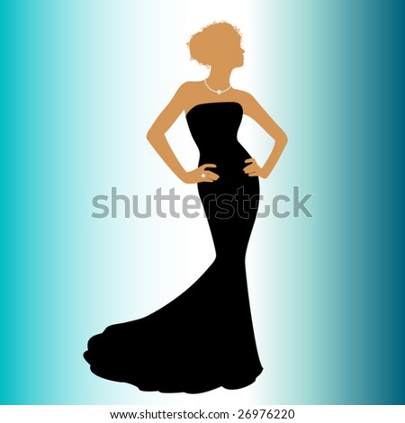 woman in couture dress - stock vector