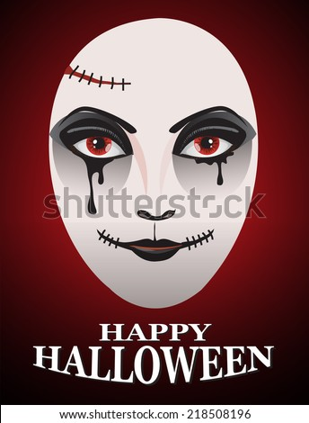 Woman in day of the dead mask Ghost face art.And Red Horror Background For Halloween Concept.  - stock vector