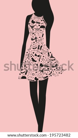 Woman in dress from words - stock vector