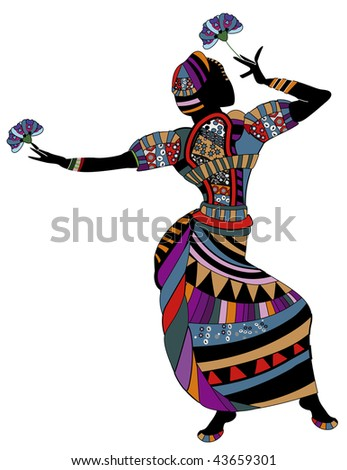 woman in ethnic clothes dancing dancing with flowers - stock vector