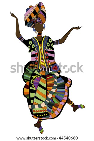 woman in ethnic style dancing his beautiful African dance - stock vector