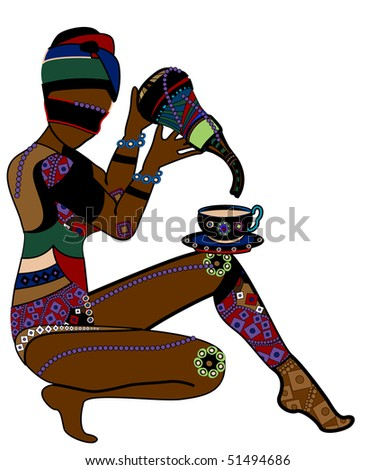 Woman in ethnic style eating on a white background - stock vector