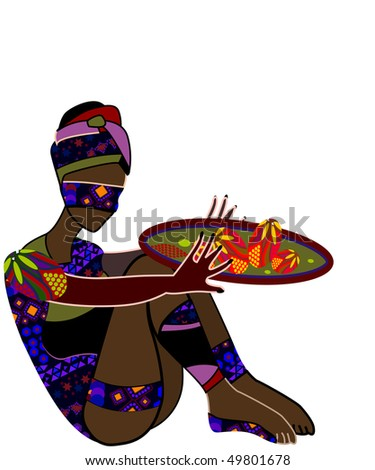 Woman in ethnic style eats his food - stock vector