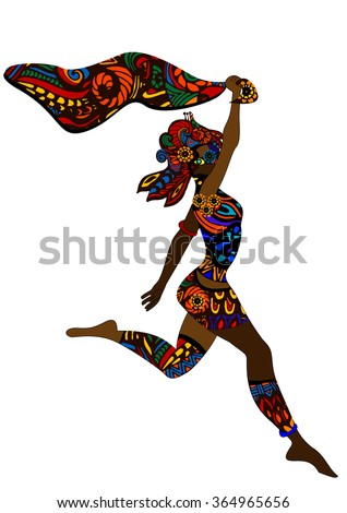 woman in ethnic style enjoys freedom - stock vector