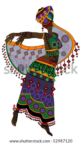 woman in ethnic style in a beautiful dress dancing a religious dance (eps.10) - stock vector