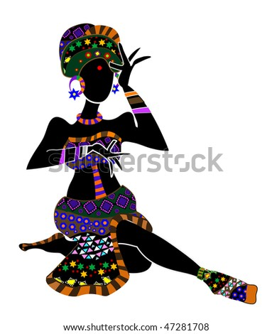woman in ethnic style, meditating on a white background - stock vector