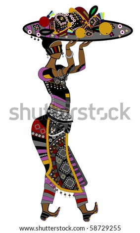woman in ethnic style of food in the hands of - stock vector