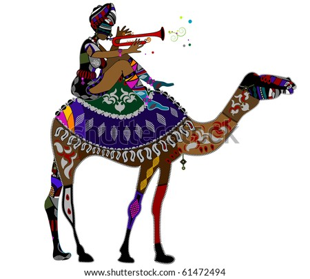 Woman in ethnic style sits on the back of a camel - stock vector