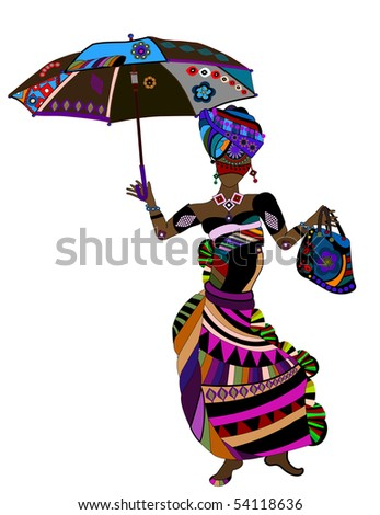 Woman in ethnic style with a bag and umbrella in hand - stock vector