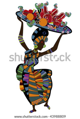woman in ethnic style with a plate of food for you - stock vector