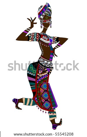 Woman in ethnic style with a white background - stock vector
