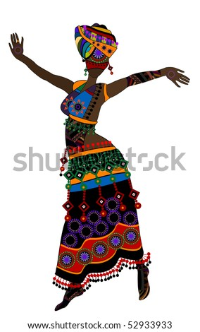 Woman in ethnic style with a white background(10.eps) - stock vector