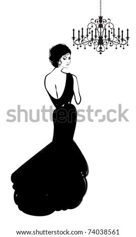 woman in formal  gown chandelier - stock vector