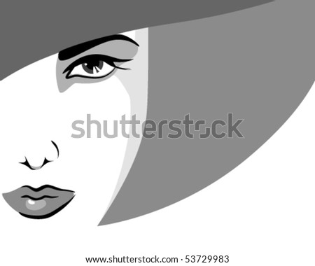 Woman in hat, in shades of gray - stock vector