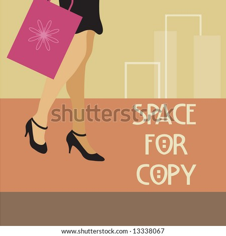 Woman in heels carrying shopping bag; fashion background. Copy space. - stock vector