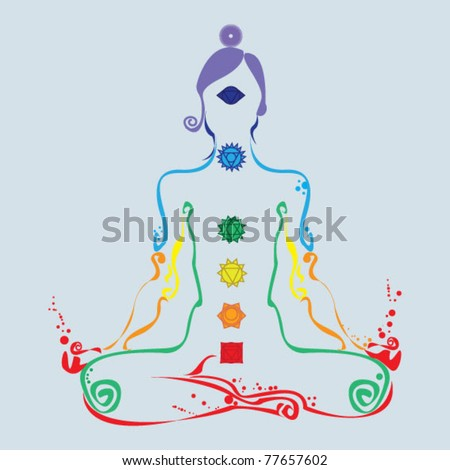 Woman in lotus position with the seven chakras - stock vector