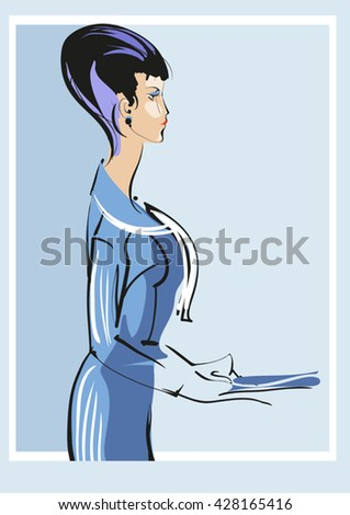 Woman in office clothes. Office working style. - stock vector