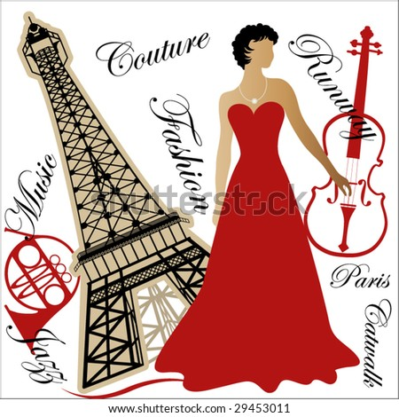 woman in Paris - stock vector