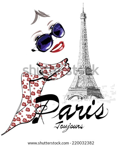 Woman in Paris close to the Eiffel tower - Vector illustration