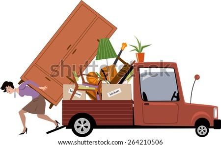 Woman in process of relocation loading furniture on a pick-up truck, vector illustration, no transparencies, EPS 8  - stock vector