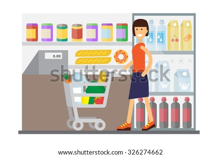 Woman in supermarket with cart full of food. Flat design vector. - stock vector