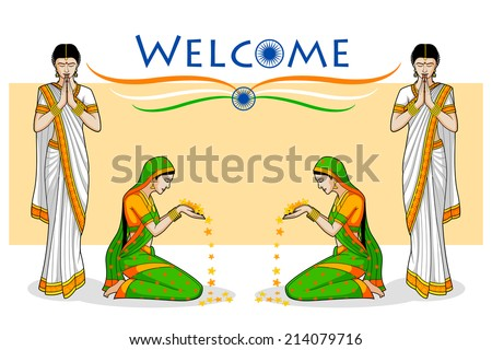 Woman in welcome gesture for Indian festival in vector - stock vector