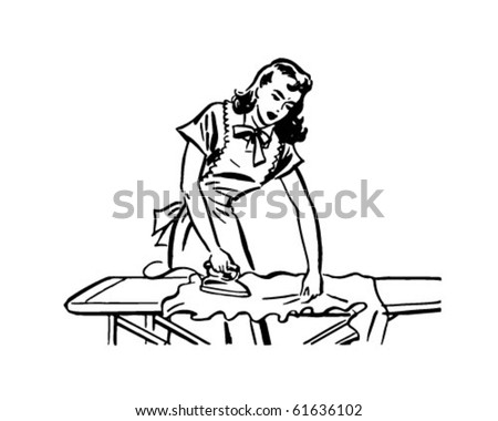 Woman Ironing - Retro Clip Art - stock vector