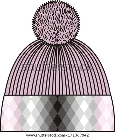 Woman knitted jersey (cap with rhombus pattern). - stock vector