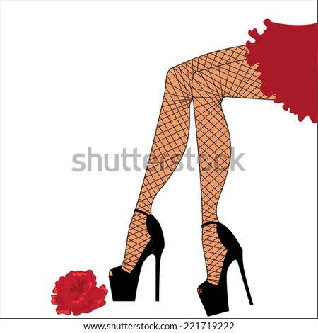 Woman legs in pantyhose and heels - stock vector